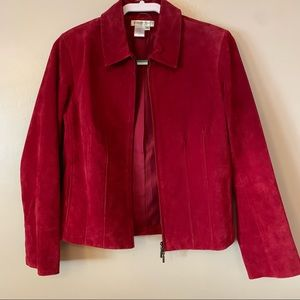 Coldwater Creek Cranberry Red Suede Leather Zip-Up  Jacket Women's Size PS